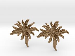 Delphinium Leaf Stud Earring in Natural Brass