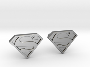 Superman Cufflinks in Polished Silver