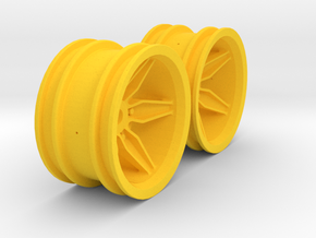 M-Chassis Wheels - Coffin Spokes - +6mm Offset in Yellow Processed Versatile Plastic