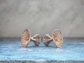 Diagrid Cufflinks - Octagon in 14k Rose Gold Plated Brass