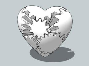 Gear Heart in White Natural Versatile Plastic
