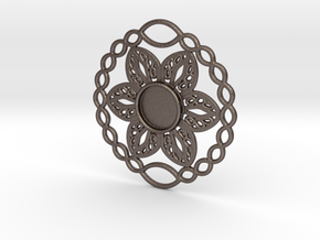Flower charm in Polished Bronzed Silver Steel