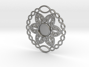 Flower charm in Natural Silver