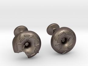 Doughnut Cufflinks in Polished Bronzed Silver Steel