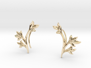 Tea Leaves Ear Climber in 14K Yellow Gold