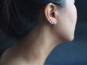 Tea Leaves Ear Climber in 14k Rose Gold Plated Brass