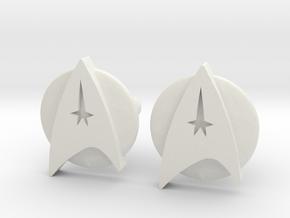 Starfleet Cufflinks in White Natural Versatile Plastic