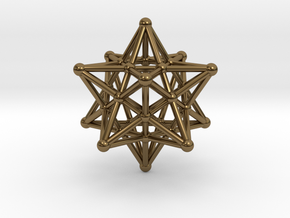 Stellated Dodecahedron -12 Pointed Merkaba in Polished Bronze