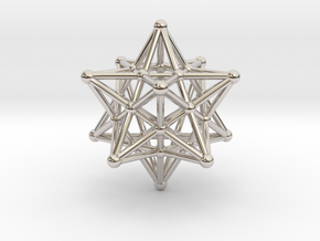 Stellated Dodecahedron -12 Pointed Merkaba in Rhodium Plated Brass