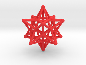 Stellated Dodecahedron -12 Pointed Merkaba in Red Processed Versatile Plastic
