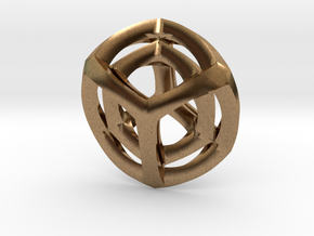 Tesseract Pendant in Natural Brass