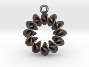 Helical Earring 1 in Polished Bronzed Silver Steel