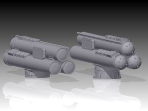 MK32 Torpedo tubes x 2 - 1/87 in Smooth Fine Detail Plastic