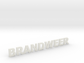 Brandweer letters zonder steun 90 mm breed in White Natural Versatile Plastic