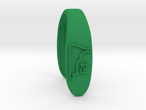 F1  #B RACE TRACK KEY FOB  in Green Processed Versatile Plastic