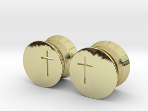 Crucifix Earring Gauges in 18k Gold Plated Brass