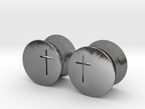 Crucifix Earring Gauges in Polished Silver