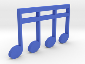 Music Pendant - 4 Sixteenth Notes in Blue Processed Versatile Plastic