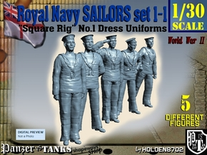 1-30 Royal Navy Sailors Set1-1 in White Strong & Flexible