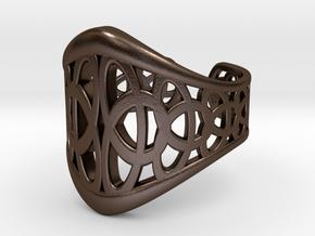 Celtic Knot Ring 3-Leaf (1) in Polished Bronze Steel