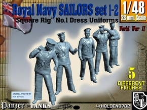 1-48 Royal Navy Sailors Set1-2 in Smooth Fine Detail Plastic