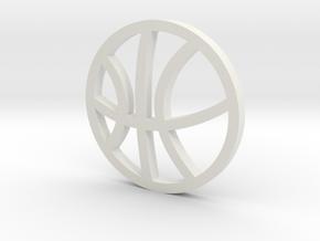 Sports Pendant - Basketball in White Natural Versatile Plastic