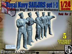 1-24 Royal Navy Sailors Set1-3 in White Natural Versatile Plastic