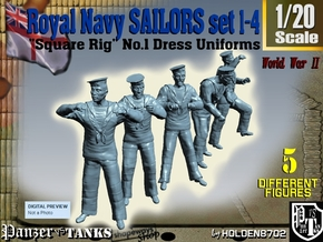 1-20 Royal Navy Sailors Set1-4 in White Natural Versatile Plastic