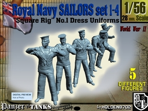 1-56 Royal Navy Sailors Set1-4 in Smooth Fine Detail Plastic