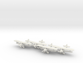 Hawker Hart planes set 1 (4 airplanes) 1/285 6mm in White Natural Versatile Plastic