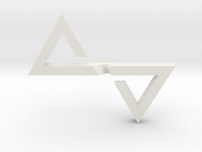 Sutura Pendant in White Natural Versatile Plastic: Small