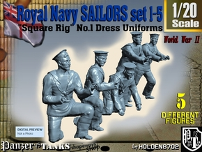 1-20 Royal Navy Sailors Set1-5 in White Natural Versatile Plastic