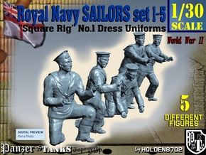 1-30 Royal Navy Sailors Set1-5 in White Natural Versatile Plastic
