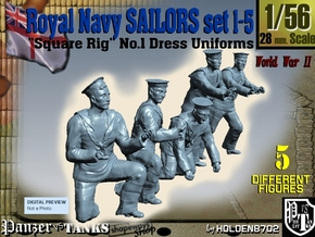1-56 Royal Navy Sailors Set1-5 in Smooth Fine Detail Plastic