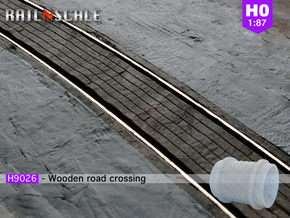 Wooden road crossing roller (H0 1:87) in Smooth Fine Detail Plastic