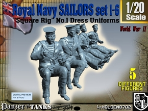 1-20 Royal Navy Sailors Set1-6 in White Natural Versatile Plastic