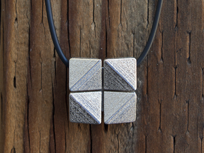Box Flower Pendant in Polished Nickel Steel