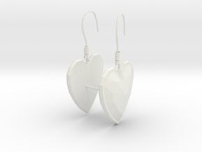 Hearts Earrings in White Natural Versatile Plastic