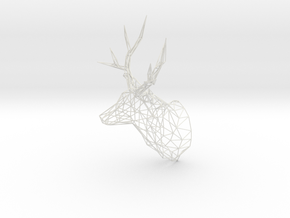 Deer Stag Trophy Head 400mm High in White Natural Versatile Plastic