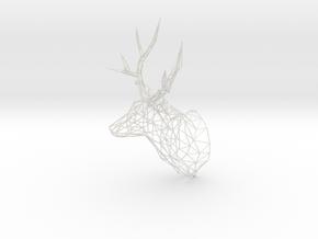 Deer Stag Trophy Head 400mm High in White Natural Versatile Plastic