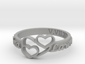 Anniversary Ring with Triple Heart - May 7, 1990 in Aluminum: 12 / 66.5