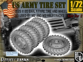 1-72 8-25x20 Early Tire Halftrack Set1 in Smoothest Fine Detail Plastic