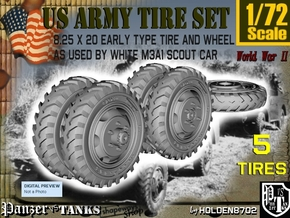 1-72 8-25x20 Early Tire White Scout Car Set1 in Smoothest Fine Detail Plastic
