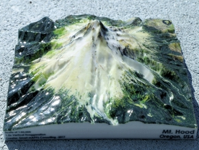 """Mt. Hood Map - 5"""" in Glossy Full Color Sandstone"""