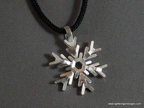 Snowflake Pendant (Double Sided) in Raw Silver