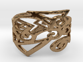 Charm Ring Design Ring Size 7 in Natural Brass
