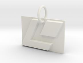 LaserDisc Keychain in White Natural Versatile Plastic