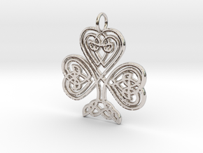 Celtic Shamrock Pendant Elegant Irish Charm in Rhodium Plated Brass