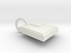 Laser Disc Keychain 2 in White Natural Versatile Plastic