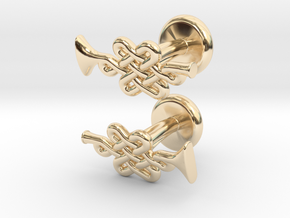 Infinity Knot Trumpet Cufflinks in 14k Gold Plated Brass